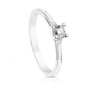 anillo compromiso oro blanco y brillantes
